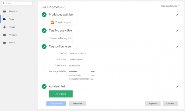 Google Analytics Tag im Tagmanager