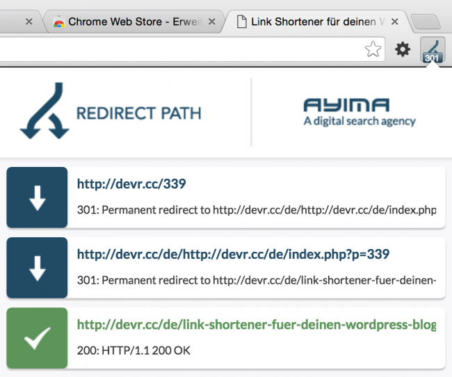 Google Chrome Extension: Redirect Path