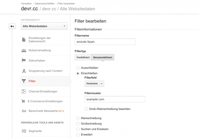 Google Analytics Spam-Filter einrichten